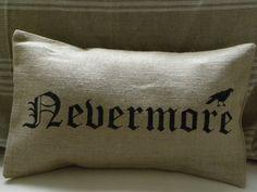 Halloween crow raven edgar allan poe burlap pillow cover. $28.00, via Etsy. Love EAP!