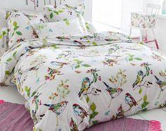Linge de lit oiseaux et feuillage