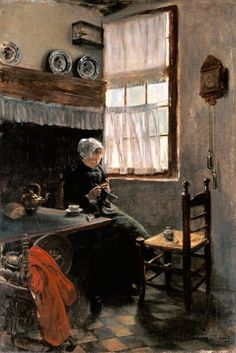 Image: Max Liebermann - Knitting farmer at the window