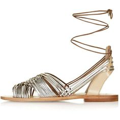 TopShop Footloose Ankle-Tie Sandals (5800 RSD) ❤ liked on Polyvore featuring shoes, sandals, sandales, leather shoes, metallic shoes, ankle strap flat shoes, ankle strap sandals and metallic leather sandals
