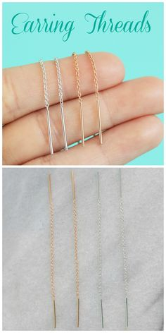 Gorgeous Sterling silver & 14k Rose gold filled earring threads!  #Blissfulhaze both colors are 8 cm long.  Use them everyday casual or fancy chic wearing.