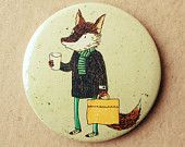 Large Fox and coffee badge
