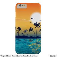 Tropical Beach Sunset Sunrise Palm Trees Ocean Barely There iPhone 6 Plus Case