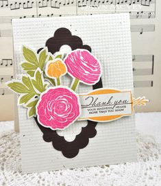 Floral Thank You Card by Dawn McVey for Papertrey Ink (February 2013)