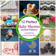 12 Perfect Baby Shower Crochet Patterns 08/07/14 / celinalane / / Pattern Finds by Category - RoundUps / amigurumi, baby, baby bonnets, baby hats, blankets, booties