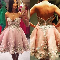 New Beauty Short Girls Homecoming Dresses Sexy A Line Sweetheart Backless Party Prom Gowns With 3D Flowers