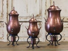 """Edison """"Burnt Copper"""" Coffee Urns 