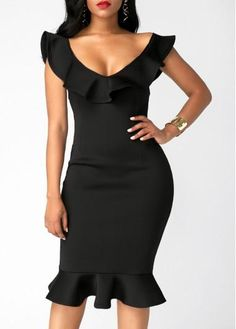 Sexy Dresses, Club & Party Dress Sale Online Page 10 - Flouncing Black V Neck Sheath Dress Trendy Dresses, Elegant Dresses, Sexy Dresses, Vintage Dresses, Dress Outfits, Evening Dresses, Casual Dresses, Fashion Dresses, Fitted Dresses