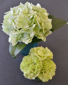Mini Green Flower table settings,with Hydrangea and carnations.