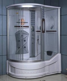 Left Corner Shower Enclosure w/ Bathtub, Radio, & 5 Massage Jets