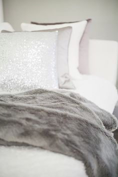 Love the idea of white bedding with silver and grey just need plum walls to go with it