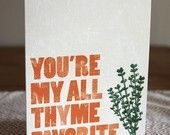 You're my all thyme favorite // DapperPaper Greeting Card