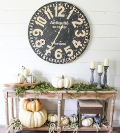 Fall table decor - fall decor - farmhouse style - pier1 clock - world market- home decor