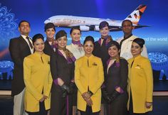 Etihad and Jet Airways crew come together to welcome the A380 in Mumbai.