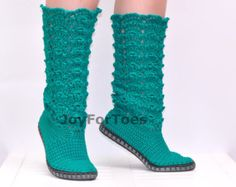 Crochet Boots Crocheted Knitted Shoes Outdoor Boots by JoyForToes