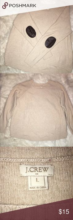 J. Crew Elbow Patch Sweater Beige j. Crew elbow patch sweater! Great for fall!!!Gently worn. J. Crew Sweaters