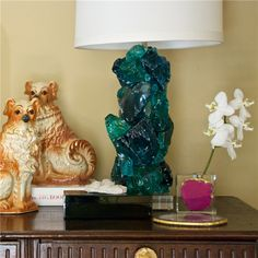 Slag Glass Aqua & Teal Table Lamp Base