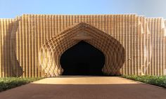 Stephane Malka Architecture and Oualolou+Choi designed Ark22, a sculptural timber threshold for COP22 in Marrakech.