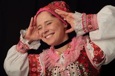 Ženský kroj, Pohorelá, photo Julián Veverica Folk Costume, Costumes, Folk Embroidery, European Countries, People Around The World, Czech Republic, Fashion, Moda, Dress Up Clothes