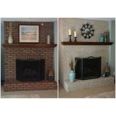 6 Unique ideas: Living Room Remodel On A Budget Thoughts living room remodel with fireplace mantels.Living Room Remodel Ideas With Fireplace small living room remodel ideas.Living Room Remodel Before And After Renovation. Painted Brick Fireplaces, Paint Fireplace, Brick Fireplace Makeover, Fireplace Brick, Stone Fireplaces, Brick Fireplace Decor, White Wash Fireplace, Fireplace Ideas, Wood Paneling Makeover