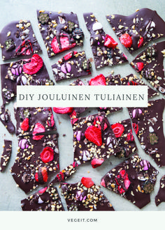 DIY Jouluinen tuliainen - Vege it! Why Christmas, Large Christmas Baubles, Christmas Sweets, Christmas Goodies, Christmas Candy, Homemade Almond Roca Recipe, Vegan Chocolate Pudding, Homemade Sweets, Sweet Little Things