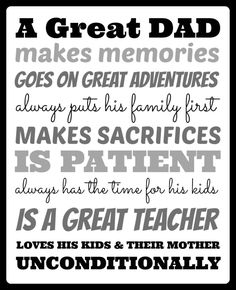 "What Makes A Great Dad . . . ""What makes your children's dad great?""  Here's what they think makes a great Dad…"