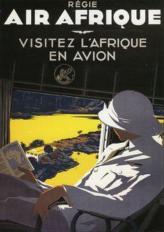 1938 - Air Afrique #Vintage #Travel #Poster