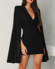 Ladies dress design - Solid Deep V Cape Design Mini Dress – Ladies dress design Elegant Dresses, Pretty Dresses, Beautiful Dresses, Casual Dresses, Beautiful Dress Designs, Formal Dresses, Awesome Dresses, Gorgeous Dress, Mode Outfits