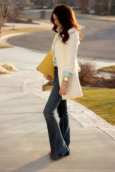 white coat, yellow clutch - chic & casual