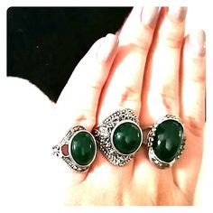 Boho chic rings,  sold as set of 3, antique 3 rings, get the boho chic look with these. Sizes will fit 7-8 Jewelry