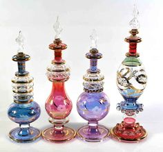 Egyptian glass perfume bottle, beautiful addition to your home decor