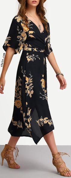 Surplice Front Florals Wrap Dress