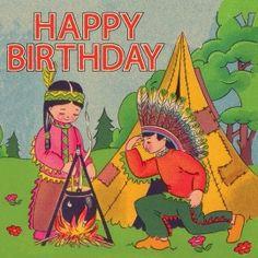Dubbele wenskaart happy birthday - indiaan | Kaarten | hipgemaakt