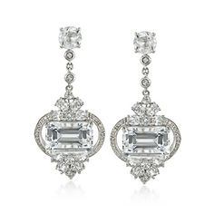 25.00 ct. t.w. White Topaz and .10 ct. t.w. Diamond Statement Earrings in Sterling Silver