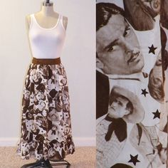 1960s Novelty Skirt, 60s Cotton Novelty Print Skirt of Famous Movie Stars Actors Sherlock Holmes, King Kong, Rhett Butler & Jean Harlow. $80.00, via Etsy.