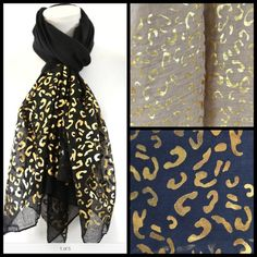 "Metallic Foil Squiggle Print Scarf Blue Black Tan Foil Scarf.  ‼️‼️ AVAILABLE IN NAVY BLUE, BLACK or BEIGE ‼️. Please let me know which color and I will create listing for you!  Retail $64  Super fun with gold metallic foil.  100% viscose.  35"" wide, 74"" long.          B37 Boutique Accessories Scarves & Wraps"