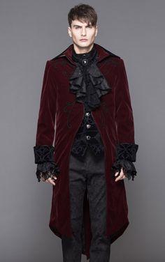 Devil Fashion Mens Burgundy Velvet Dorian Jacket