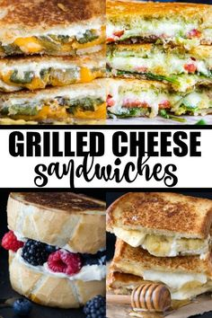 Grilled Cheese Sandwiches - Serve up a comforting grilled cheese to take all your cares away. Crispy bread, ooey-gooey cheese, nothing beats it. Now, if you are feeling lucky, you might want to venture out for more adventurous flavor pairings. Easy Sandwich Recipes, Wrap Recipes, Entree Recipes, Burger Recipes, Lunch Recipes, Vegan Recipes, Cooking Recipes, Dinner Recipes, Sandwich Ideas