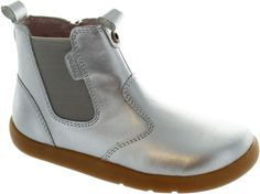 Bobux Outback Boot Girl's Silver Pull On Chelsea Style Dealer Ankle Boots New