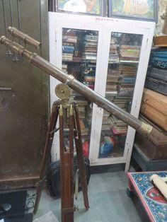 "Broad Arrow Mark Thos J.Evans London Adjustable leg Double Barrel TELESCOPE 38""L #ThosJEvans"