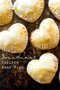 sweetheart chicken hand pies / savory hand pies recipe / valentines day / heart shaped dinner idea / cute kids food / mixed vegetables via @tastesoflizzyt