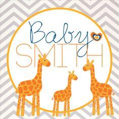 giraffes, baby shower, boy baby shower, stickers, party favor stickers, chevron, modern baby shower, Party Box Design