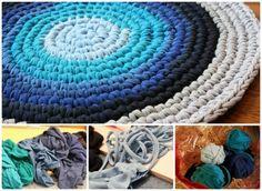 10 Fabulous DIY Ways to Recycle Old Tees - crochet t-shirt rug tutorial Hula Hoop Tapis, Hula Hoop Rug, Hula Hoop Weaving, Tee Shirt Rug, T Shirt Yarn, Diy Tresses, Braided Rug Tutorial, Braided T Shirts, Crochet Mat