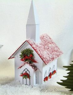 DIY Christmas Village made with the Martha Stewart Winter Village templates. Great holiday mantel or table decor! Christmas Village Houses, Putz Houses, Christmas Villages, Gingerbread Houses, Noel Christmas, Christmas Paper, Vintage Christmas, Christmas Ornaments, Country Christmas