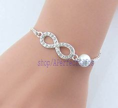 Shining diamond infinity with pearl bracele White Pearl Silver chain Woman's daily jewelry Bridesmaid bracelet Wedding jewelry gift idea by APerfectGifts, $3.99