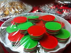 here's a healthy dessert dish for christmas. colorful jello bites. i don't know about you, but i love jello. you could always add some alcohol and make then christmas jello shots :)