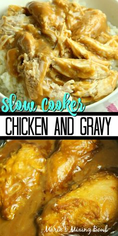 Slow Cooker Chicken and Gravy is what comfort food is all about in our house and it is totally ahhh-mazing! Easy and delicious always wins in our home. Slow Cooker Bbq, Slow Cooker Chicken, Slow Cooker Recipes, Crockpot Recipes, Cooking Recipes, Vegan Recipes, Crockpot Chicken And Gravy, Crockpot Dishes, Crock Pot Cooking