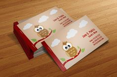 Cute Owl Mom Calling Cards - The perfect way for mothers to hand out contact information to babysitters!