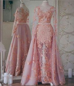 Robe de Soiree - Appliqued, See-Through Sexy Evening Dress with Removable Train (Choose your favorite color) A Line Evening Dress, Evening Dresses, Prom Dresses, Wedding Dresses, Kebaya Wedding, Muslimah Wedding Dress, Kebaya Dress, Dress Pesta, Couture Wedding Gowns