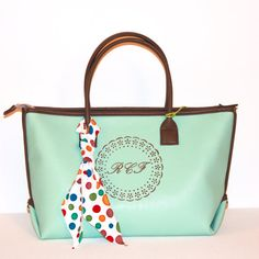 FREESHIP50 And FREE Monogram and personalization Monogrammed Faux leather mint green tote bag, padded handbag monogram tote, medium carry all, travel, school bag, everyday bag, laptop bag on Etsy, $54.00